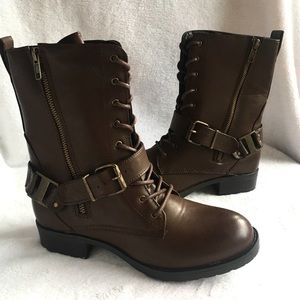 NEW in BOX Leila Stone Leather MOTO BOOTIES Boots